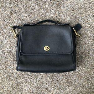 Vintage Coach Dark Grey Court Bag